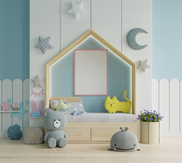 Макет рамки плаката в детской комнате, детской комнате, детской комнате, синей стене