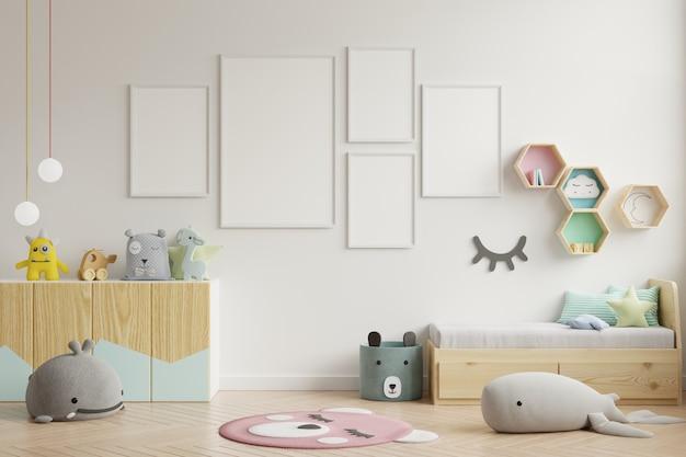어린이 방, 어린이 방, 보육 이랑, 흰 벽에 포스터 프레임을 비웃는 다.