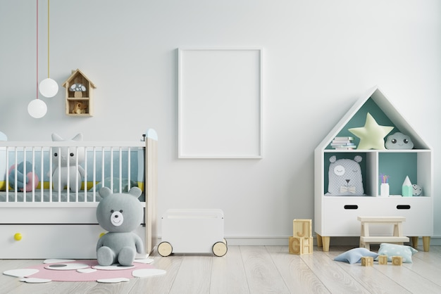 Макет кадр-афишу в детской комнате, детская комната, питомник макет, белая стена.