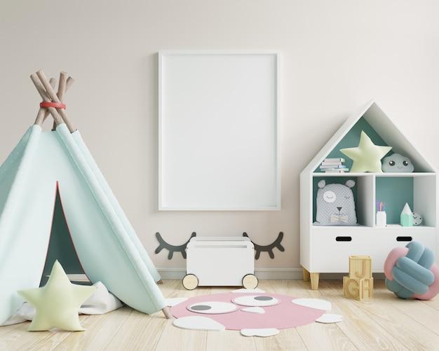 어린이 방, 어린이 방, 보육 모형, 흰 벽에 포스터 프레임을 모의합니다.
