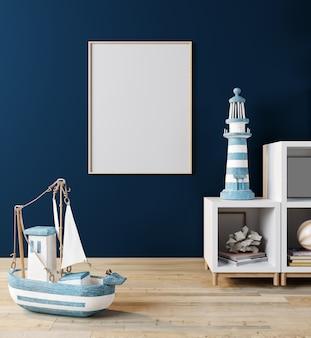 子供部屋、スカンジナビアスタイルのインテリアの背景、3 dレンダリング、3 dイラストでポスターフレームのモックアップします。