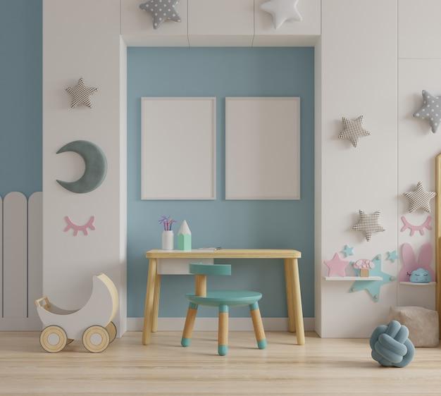 子供部屋のポスターフレームのモックアップ