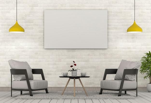힙 스터 인테리어 현대 거실 배경에서 포스터 프레임을 조롱