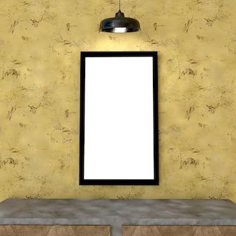 실내 배경에서 포스터 프레임을 조롱, 3d 렌더링