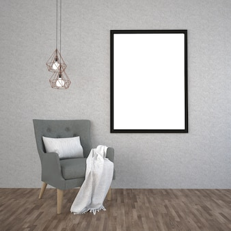 Mock up poster frame in interior background
