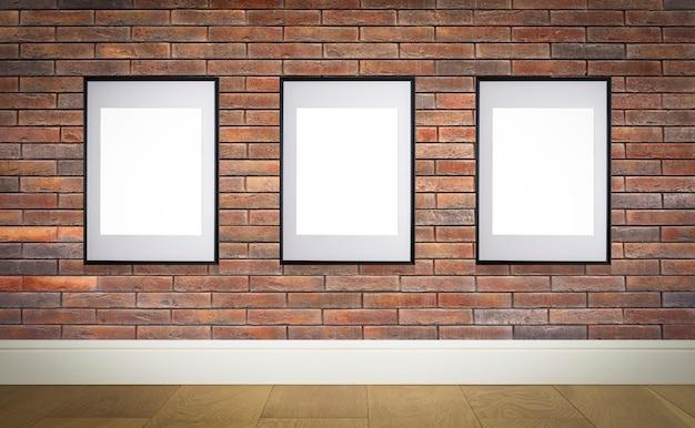 ポスターまたは写真画像の内壁の白いフレームにポスターフレームをモックアップ