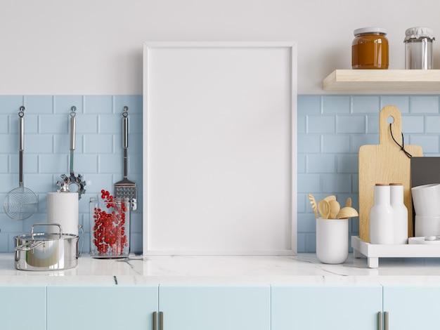キッチンのインテリアにポスターフレームをモックアップします。 3dレンダリング