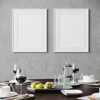 テーブル、リビングルーム、スカンジナビアスタイル、3dレンダリング、3dイラスト、モダンなインテリアの背景でポスターフレームをモックアップ