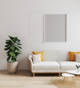 현대적인 인테리어, 거실, 스칸디나비아 스타일, 3d 렌더링, 3d 일러스트 포스터 프레임을 조롱 프리미엄 사진