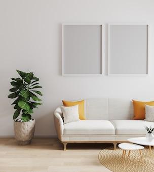현대적인 인테리어, 거실, 스칸디나비아 스타일, 3d 렌더링, 3d 일러스트 포스터 프레임을 조롱