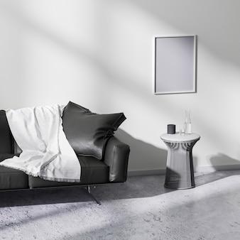 현대적인 미니멀리즘 스타일의 거실 인테리어, 3d 렌더링의 포스터 프레임 모의