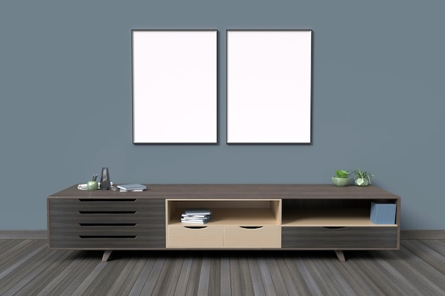 방 인테리어 배경 어두운 색상 스타일에서 포스터 프레임을 모의