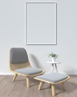 Макет плакат кадра в комнате белый фон современный стиль, 3d-рендеринг