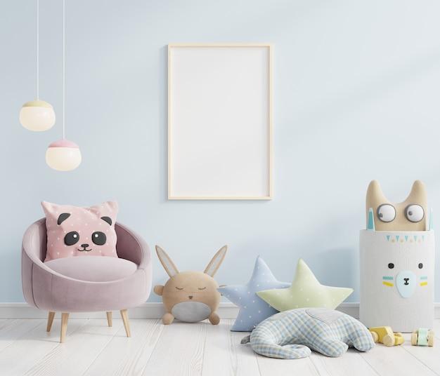 Макет рамки плаката в скандинавских идеях дизайна детской комнаты. 3d визуализация