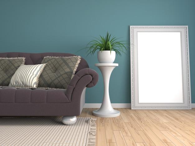 Mock up poster frame in interior background