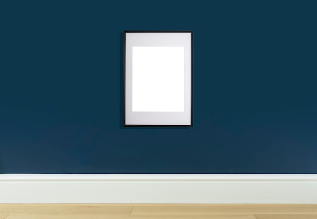 Mock up poster frame in interior wall white frame for poster or photo image on blue wall