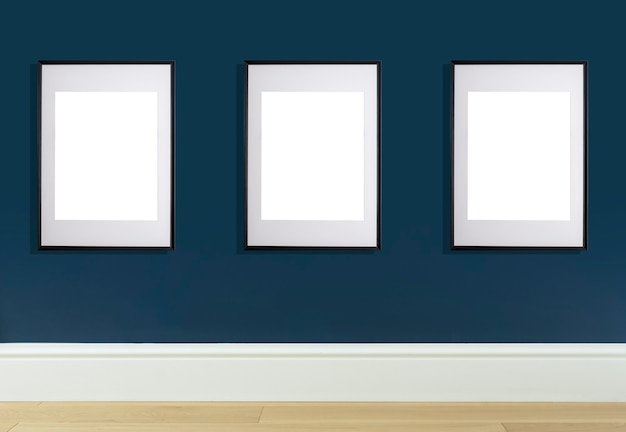 Mock up poster frame in interior wall white frame for poster or photo image
