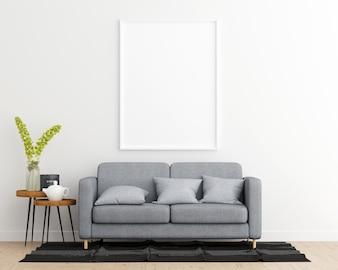Mock Up Poster Frame Living Room Interior Background