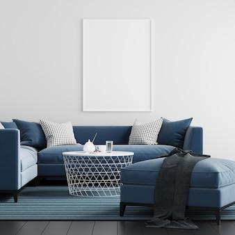 Mock up poster frame living room interior background Premium Photo