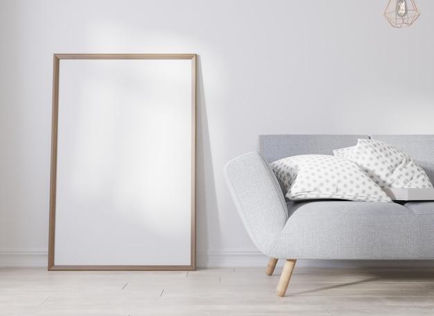 Mock up poster frame in living room..