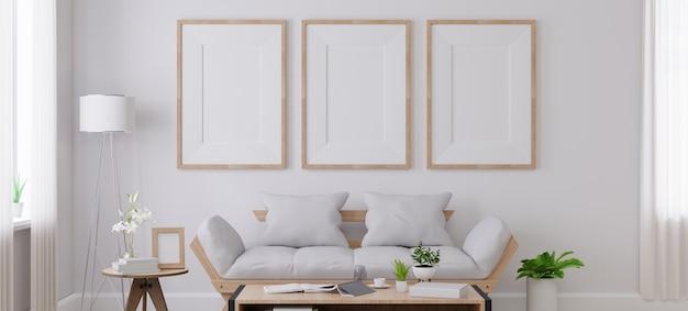 Mock up poster frame in living room.