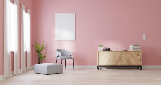 Mock up poster frame in living room
