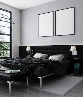 Mock up poster frame in loft bedroom interior background, scandinavian style, 3d rendering, 3d illustration