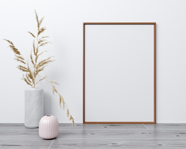 Mock up poster frame in modern interior background, scandinavian style, 3d rendering