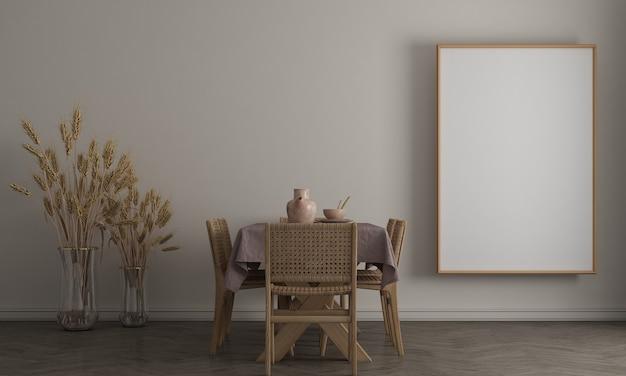 Mock up poster frame in modern interior background