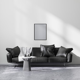 Mock up poster frame in modern minimalistic style living room interior with black sofa, 3d rendering