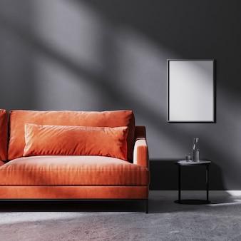 검은색 커피 테이블, 원시 콘크리트 바닥, 3d 렌더링이 있는 빨간색 소파가 있는 태양 광선이 있는 검은색 벽에 포스터 프레임을 조롱합니다.