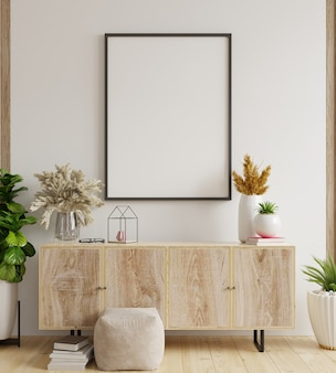 Макет рамки плаката на шкафу в интерьере, белая стена