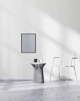 흰색 의자와 검은색 커피 테이블, 3d 렌더링이 있는 현대적인 미니멀리즘 실내의 흰색 벽에 포스터 프레임을 조롱합니다.