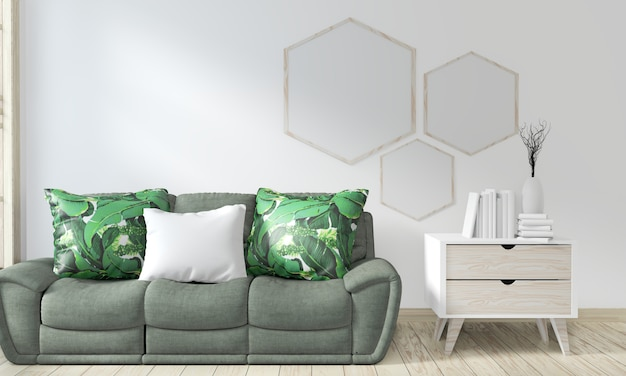 Mock up poster frame room with sofa green and decoration plants