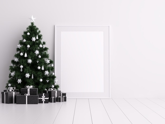 Mock up poster frame with christmas winter and boxing day decoration