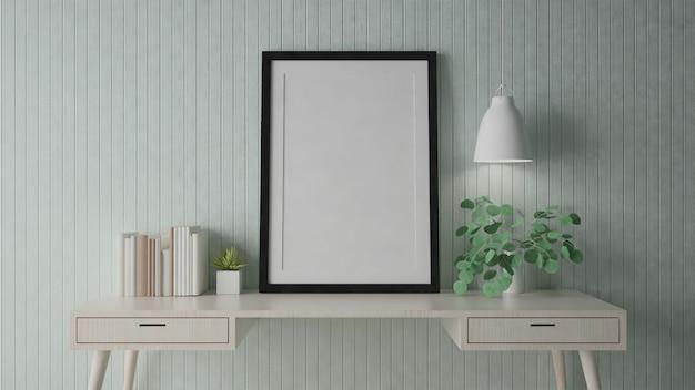 Mock up poster frame with interior background, 3d render