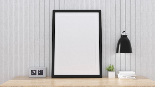 Mock up poster frame with interior background, 3d render