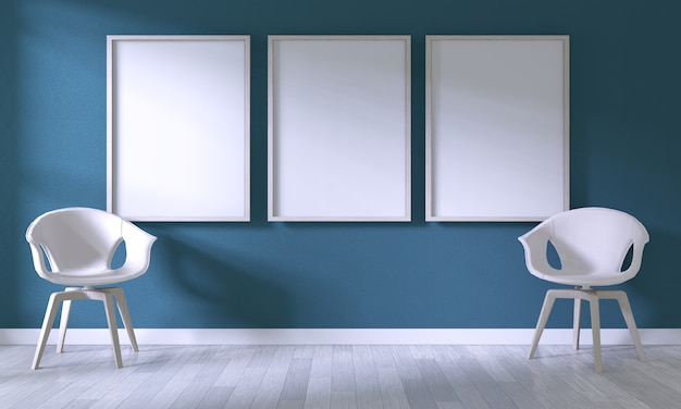 Mock up poster frame with white chair on room dark blue wall on white wooden floor