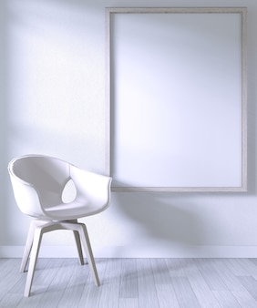 Mock up poster frame with white chair on room white wall on white wooden floor