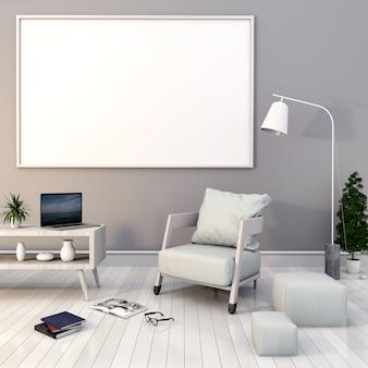 Mock up poster frames in hipster interior modern living room background, 3D render