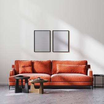 빨간색 소파와 나무 커피 테이블, 흰색 벽, 원시 콘크리트 바닥, 스칸디나비아 미니멀리즘 스타일, 3d 렌더링을 갖춘 현대적인 거실 내부의 포스터 프레임