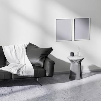 현대적인 미니멀리즘 스타일의 거실 인테리어, 3d 렌더링에서 포스터 프레임을 조롱합니다.