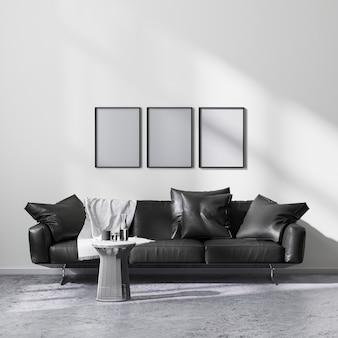 검은색 소파, 3d 렌더링이 있는 현대적인 미니멀리즘 스타일의 거실 내부에서 포스터 프레임을 조롱합니다.