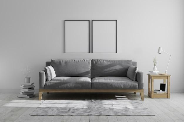 스칸디나비아 hipster 스타일 현대 회색 톤 인테리어, 현대적인 인테리어에 빈 프레임, 3d 렌더링에서 포스터 프레임을 조롱