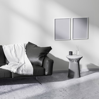 Mock up poster frames in modern minimalistic style living room interior, 3d rendering