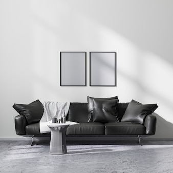Mock up poster frames in modern minimalistic style living room interior with black sofa, 3d rendering