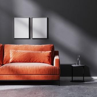 검은색 커피 테이블, 원시 콘크리트 바닥, 3d 렌더링이 있는 빨간색 소파가 있는 태양 광선이 있는 검은색 벽에 포스터 프레임을 비웃습니다.