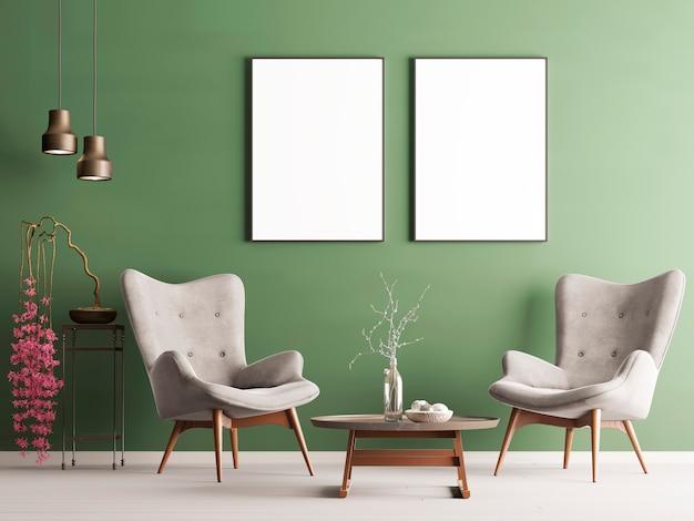 녹색 벽, 부드러운 안락 의자, 식물 및 램프가있는 파스텔 현대적인 인테리어의 포스터를 모의하십시오. 3d 렌더링