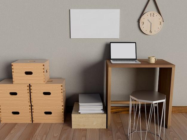 Макет рабочего пространства для рабочего стола с настольным компьютером