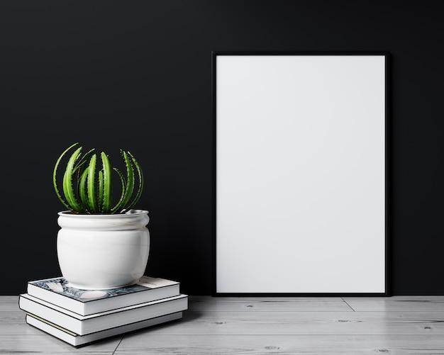 Mock up poster in modern interior background, black background, 3d rendering